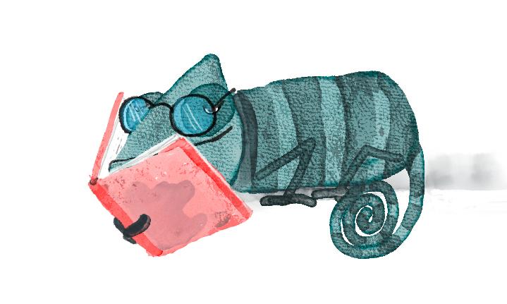 camaleon leyendo